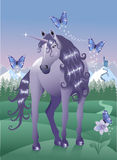 Violet Unicorn. With butterflys in a Fairy Land Royalty Free Stock Photography