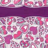 Violet valentine background with color hearts Royalty Free Stock Photography