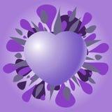 Violet Valentine-Herz auf einem purpurroten Hintergrund Lizenzfreies Stockbild