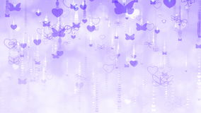 Violet Valentine`s Day Background with Butterflies and Hearts. Hearts and butterflies seamless moving down. Perfect to use in motion graphics project. Computer stock video