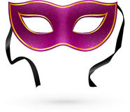 Violet vector carnival mask with ribbons Royalty Free Stock Images