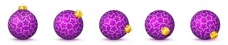 Violet Vector Christmas Balls Set med textur - struntsaker X-Mas vektor illustrationer