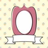 Violet vector decoratief kader op zoete cake gele achtergrond Stock Fotografie