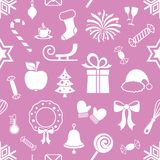 Violet vector endless pattern with christmas icons vector illustration