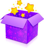 Violet vector magic box with yellow stars inside Stock Images