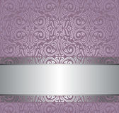 Violet vintage wallpaper invitation design with copy space Stock Photography