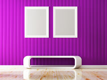 Violet wall color and white frame decorate. 3d rendering Royalty Free Stock Image