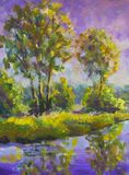 Original oil painting Violet warm sunset dawn over the lake. Rural summer landscape. Trees are reflected in water. Violet warm sunset dawn over the lake. Rural stock images