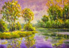 Original oil painting Violet warm sunset dawn over the lake. Rural summer landscape. Trees are reflected in water. Violet warm sunset dawn over the lake. Rural royalty free stock photography