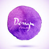 Violet watercolor circle, vector design element Stock Images
