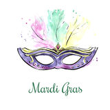 Violet watercolor mask with jewels stock images