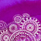 Violet watercolor paint background with white hand Stock Photo