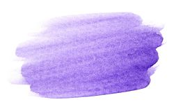 Violet watercolor splash hand drawn. Abstract violet watercolor splash isolated on white background royalty free stock photography