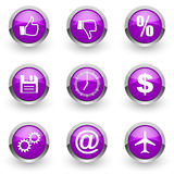 Violet web icons set Royalty Free Stock Images