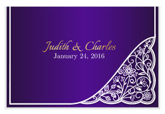 Violet wedding announcement with white floral lace Royalty Free Stock Photo