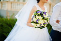 Violet Wedding Bouquet Immagine Stock