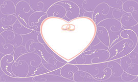 Violet wedding card with rings Royalty Free Stock Photos