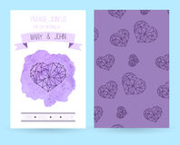 Violet wedding invitation with watercolor. Template. Violet wedding invitation template for your design Royalty Free Stock Image