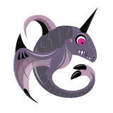 Violet whale with a horn Royalty Free Stock Image