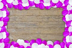 Violet and white air balloon. In front of a wood background royalty free stock images