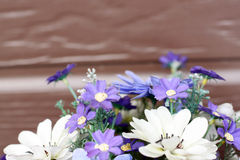 Violet and white color of Artificial flower bouquet. Royalty Free Stock Photo