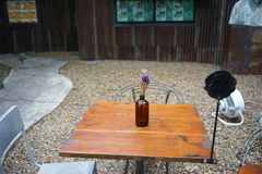 Violet and white lavender in bottle glass on the table royalty free stock photo