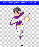 A violet and white superhero with a blazing power. Illustration of a violet and white superhero with a blazing power Stock Images
