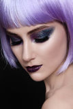 Violet wig and sparkly make-up Royalty Free Stock Photos