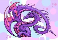 Violet winged dragon. Draw of funny violet winged dragon smile on a color background vector illustration