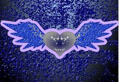 Violet winged heart on abstract background Stock Photo