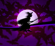 Violet Witch Halloween Background Stock Photo
