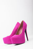 Violet woman shoes, high heels Royalty Free Stock Photo