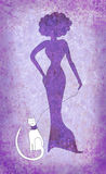 Violet woman and white cat Royalty Free Stock Photos