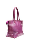 Violet womens bag  on white background. Stock Photos