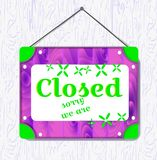 Violet wood and green flower hanging sign with text Closed . White border box. vector illustration royalty free illustration