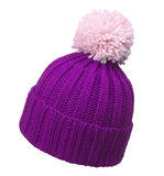 Violet woolen hat. Isolated on white background royalty free stock photo