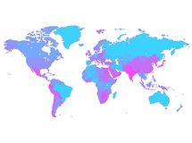 Violet World map with countries stock illustration
