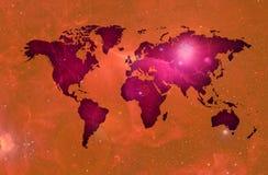 Violet World map over orange space.