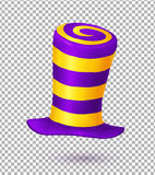 Violet and yellow colors striped realistic vector carnival hat. Violet and yellow colors striped realistic vector crazy carnival hat Royalty Free Stock Images