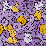 Violet and yellow curls seamless pattern. Stock Images