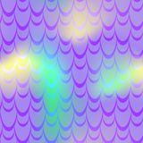 Violet yellow mermaid scale  background. Neon iridescent background. Fish scale pattern. Stock Photo