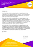 Violet and yellow modern letterhead Stock Images