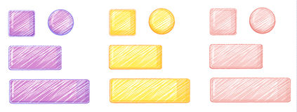 Violet, yellow and pink icons Royalty Free Stock Photos