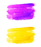 Violet and yellow watercolor banners. Vector hand painted watercolor banners isolated on white background Stock Image