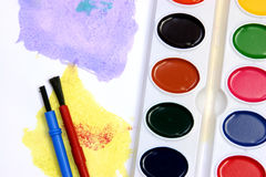 Violet and yellow watercolors Stock Images