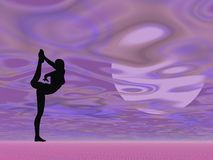 Violet yoga - 3D render Stock Images