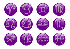 Violet zodiac set Royalty Free Stock Image