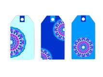 Violeta azul de la mandala de la etiqueta Imagen de archivo libre de regalías