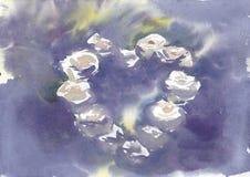 Violeta da aquarela do fundo com rosas do heartshape fotos de stock royalty free