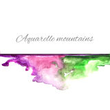 Violeta do verde das montanhas do Aquarelle Imagem de Stock Royalty Free